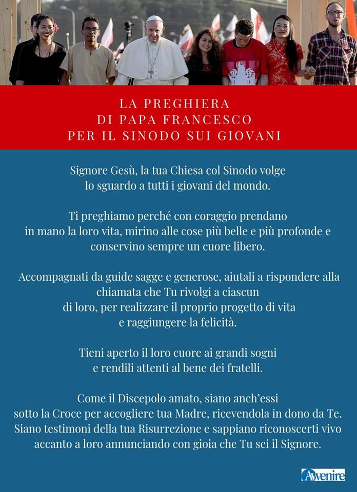 Preghiera di Papa Francesco sul Sinodo dei Giovani